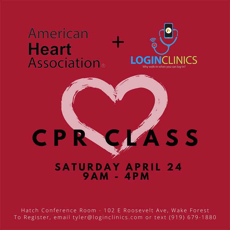LoginClinics Current Events - CPR Class, Saturday, April 24 2021 9AM-4PM