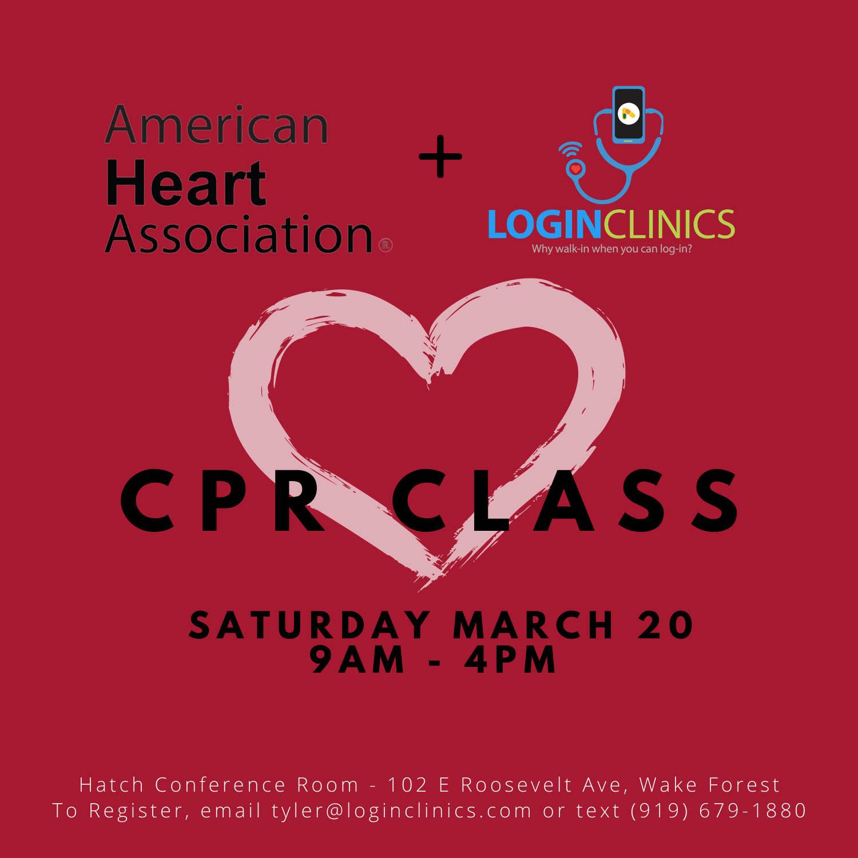 LoginClinics Current Events - CPR Class, Saturday, March 20, 2021 9AM-4PM